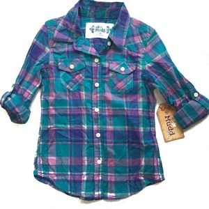 MUDD Girls' NWT Button Down Plaid Shirt Size 5